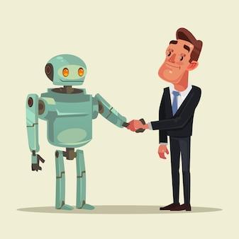 Человеческие персонажи и роботы заключают сделку и пожимают друг другу руки.