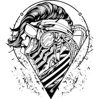 Силуэт человека-меха-киборга