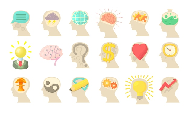 Human mind icon set