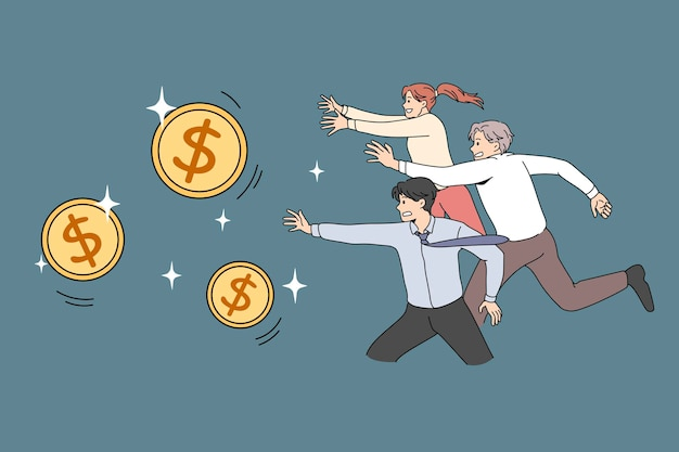 Human money competition concept. greed for wealthy life. vector illustration of running people for golden dollar coins.
