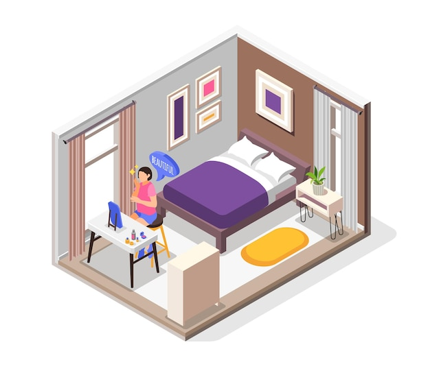 Human needs isometric composition with sleep comfort and beauty symbols illustration