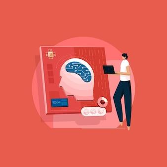 Программист нервной системы человека с цифровым мозгом, схемой и искусственным интеллектом