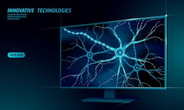 Human neuron low poly anatomy concept.