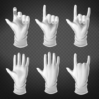 Человеческая ладонь одета в жестикуляцию в белых перчатках