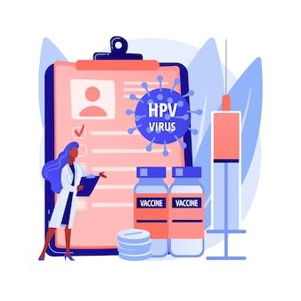 ヒトパピローマウイルス治療の抽象的な概念のベクトル図です。ヒトパピローマウイルス薬、hpv治療、免疫系反応、症状の緩和、細胞の除去は比喩を抽象化します。