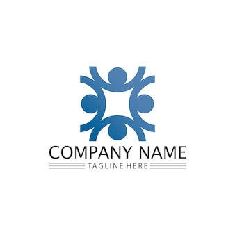 Human and people logo design community care icon and vector group