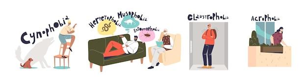 Человеческие фобии и страхи: набор героев мультфильмов, страдающих психическими расстройствами, клаустрофобией, акрофобией, кинофобией и различной паранойей. плоские векторные иллюстрации