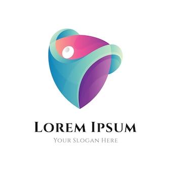 Human protection gradient logo icon