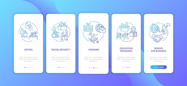 인간 보호 온보딩 모바일 앱 페이지 화면에 개념이 있습니다. 비즈니스 및 교육입니다. 대사관 서비스 연습 5단계 그래픽 지침. rgb 컬러 일러스트가 있는 ui 벡터 템플릿