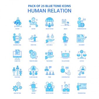 Human relation blue tone icon pack
