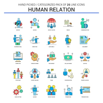 Human relation flat line icon set