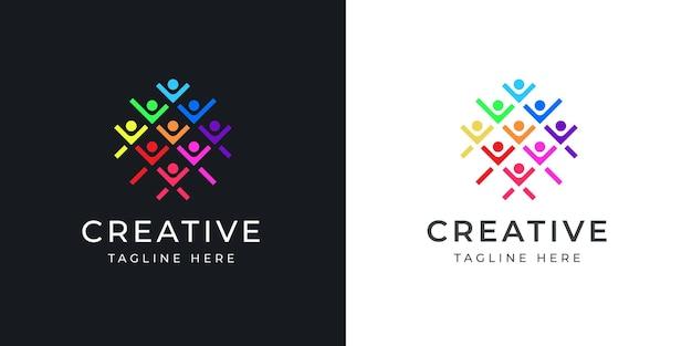 人間関係のロゴデザインテンプレートカラフルな人間の社会的現代ロゴラインデザインテンプレートのベクトル図