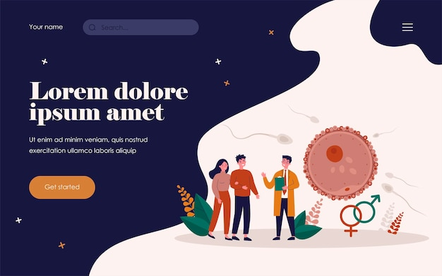 Human reproduction and family planning concept. young couple consulting reproductive doctor, ovum fertilization infographics. for parenthood, pregnancy and fertility topics
