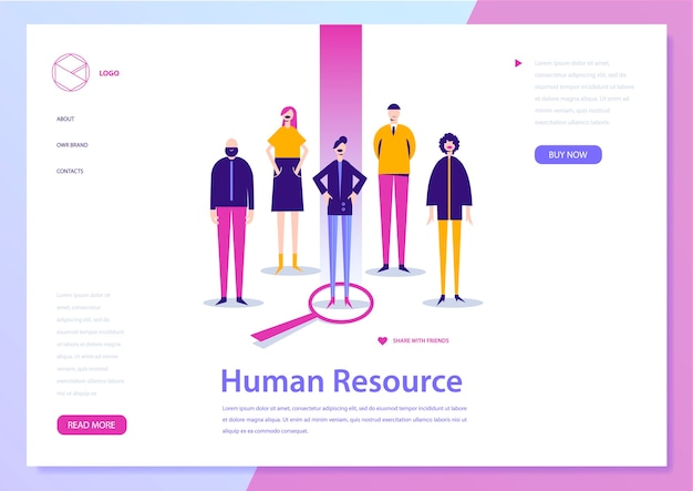 Human resouce, hr con ept, landing page. job search, people illustration. recruitment banner, poster