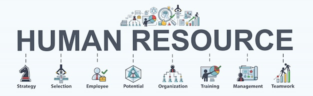 Human resource banner web for business. strategy, selection, profile and hr.