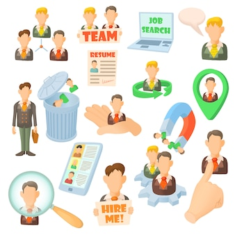 Human resource icons set in cartoon style