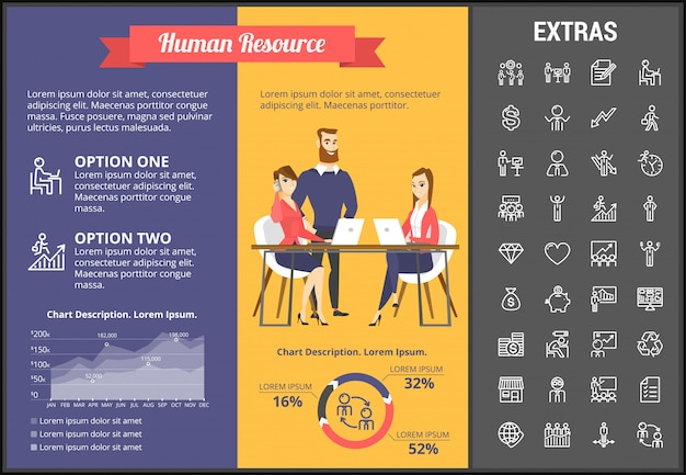 Human resource infographic template and elements