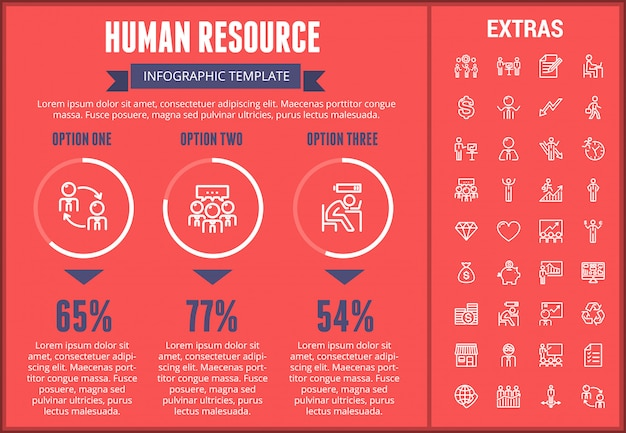 Human resource infographic template and elements.