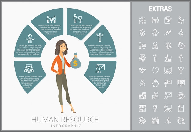 Human resource infographic template and icons set