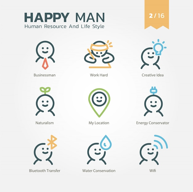 Human resource and lifestyle icon set