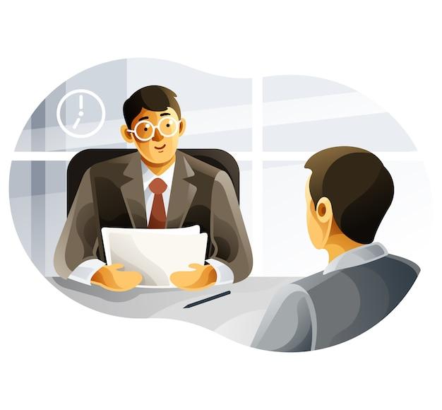 人材マネージャーが求職者にインタビューします