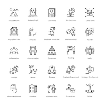 Human resource outline vector icons set