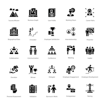Human resource solid vector icons set
