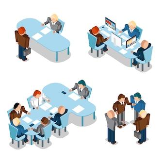 人事とビジネスマン。会議とチームワーク、グループ、組織