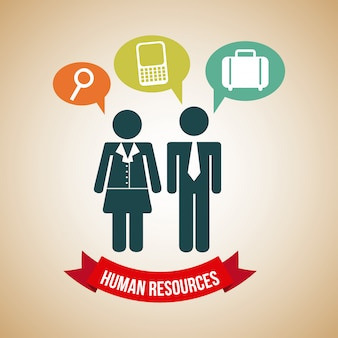 Human resources over beige background vector illustration