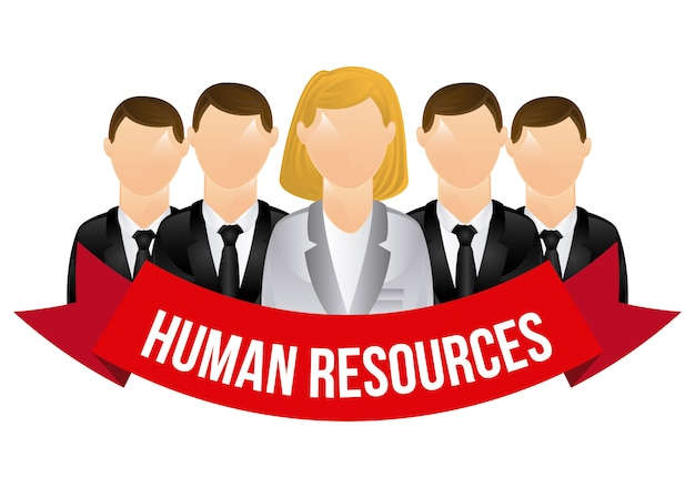 Human resources characters with banner over white