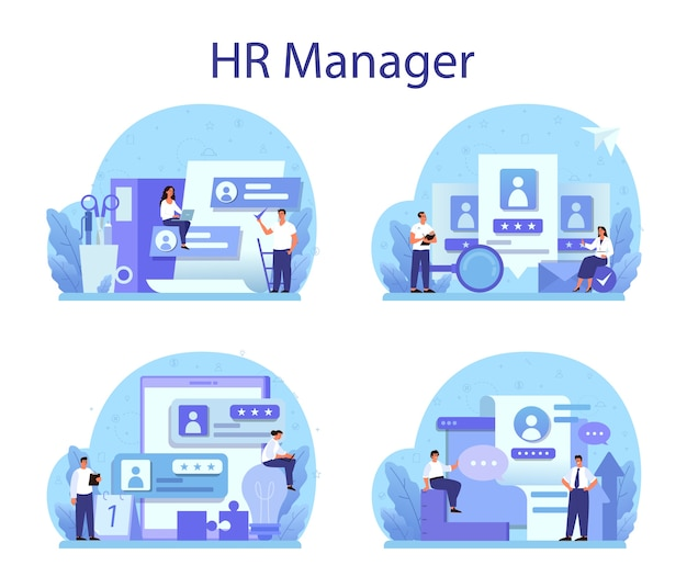 Human resources concept set illustration