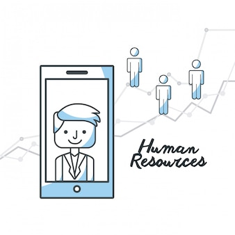 Human resources flat line icons