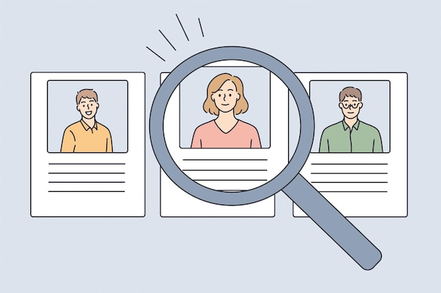 Human resources and hiring concept. profiles of candidates with photos and resume online and magnifier to one selected candidate for vacancy vector illustration