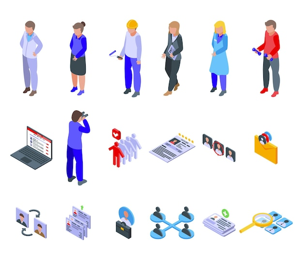 Human resources icons set. isometric set of human resources vector icons for web design isolated on white background