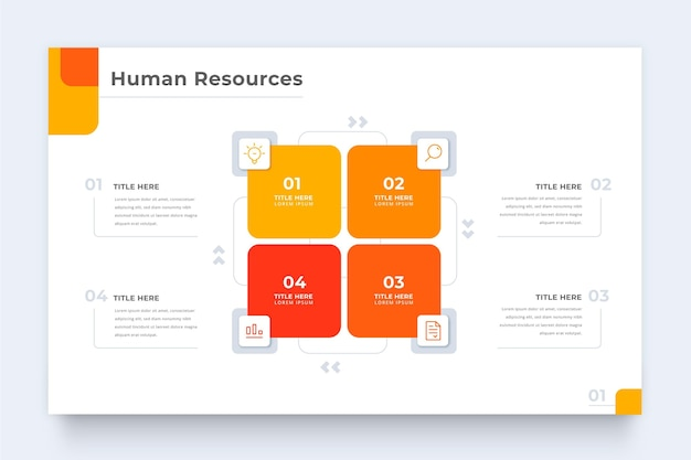 Human resources infographic template with squares