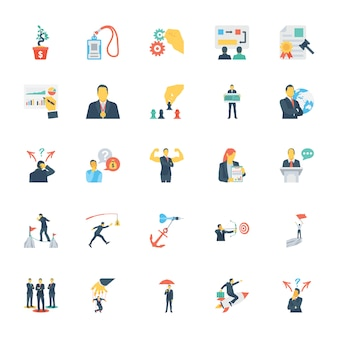 Human resources and management colored icons 0