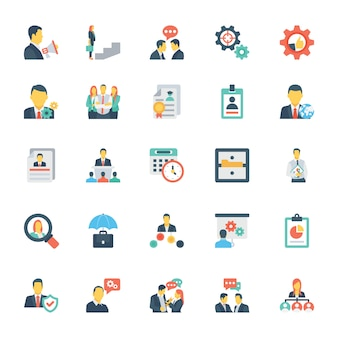 Human resources and management colored icons