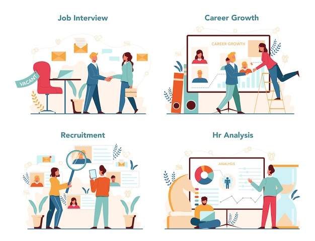Human resources manager concept set. idea of recruitment and job management. teamwork management. hr manager occupation.