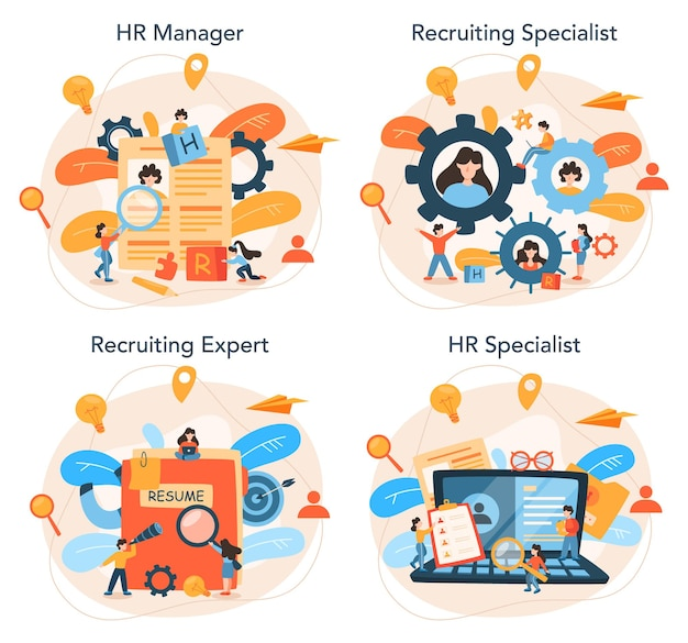 Human resources manager concept set