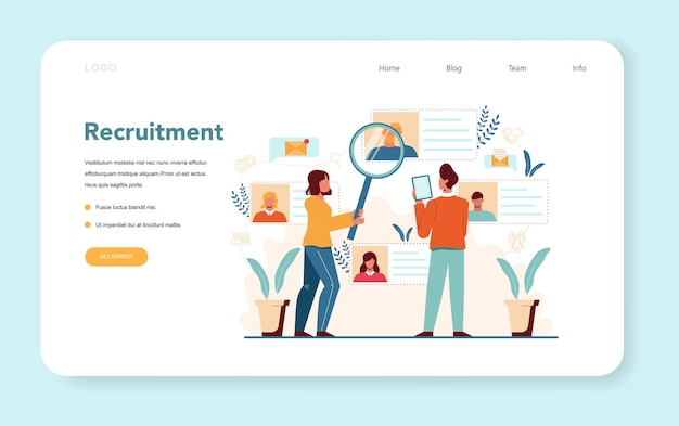 Human resources manager web banner or landing page