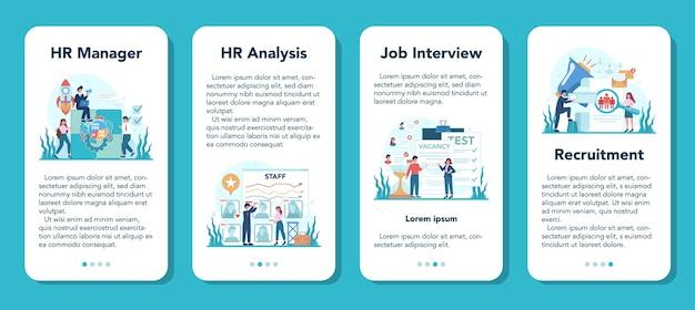 Human resources mobile application banner set