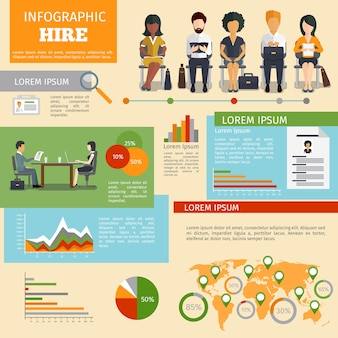 Human resources personnel recruitment infographics. job work, interview