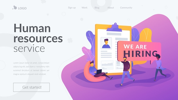 Human resources service landing page