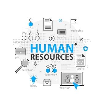 인적 자원 웹 배너 개념입니다. 개요 라인 비즈니스 아이콘 세트입니다. hr 전략 팀, 팀워크 및 기업 조직. 사이트, 프리젠 테이션을위한 그림 템플릿
