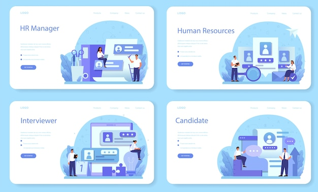 Human resources web banner or landing page set.