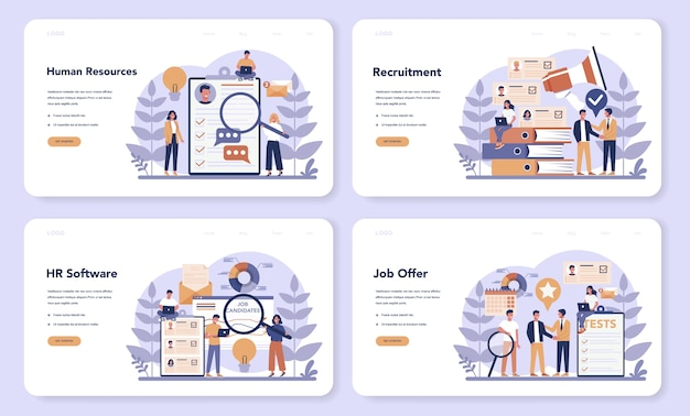 Human resources web  landing page set. idea of recruitment and job management. teamwork management. hr manager occupation. flat vector illustration