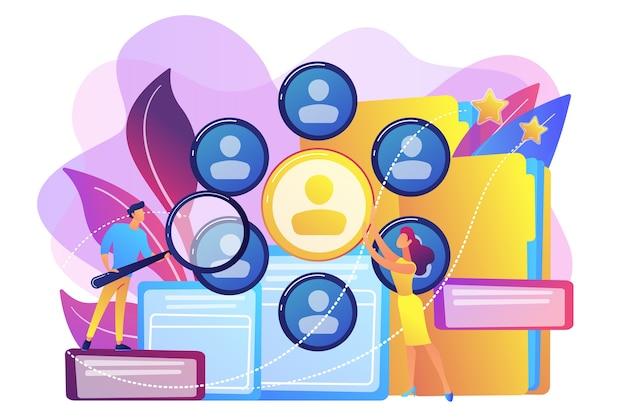 拡大鏡を使用して専門スタッフの調査を行う人的資源管理者。人事、人事チームワーク、ヘッドハンターサービスのコンセプト。
