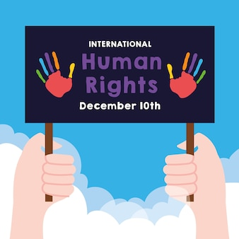 Надпись кампании по правам человека с руками, поднимающими плакат, протестующий против дизайна векторной иллюстрации