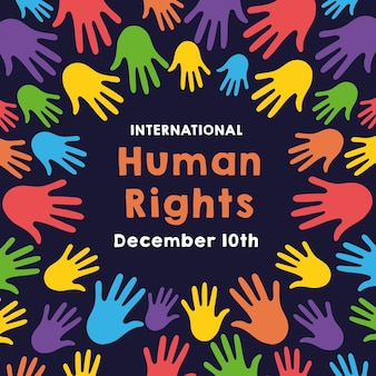 Надпись кампании за права человека руками печатает цвета вокруг дизайна иллюстрации вектора образца