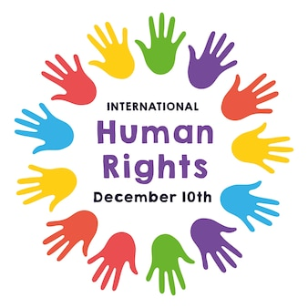 Надпись кампании по правам человека руками печатает цвета вокруг дизайна векторной иллюстрации